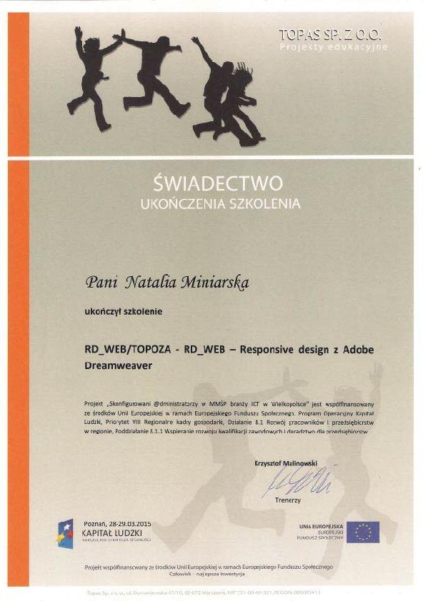 Świadectwo ukończenia szkolenia RD-WEB Responsive Design - Natalia Miniarska