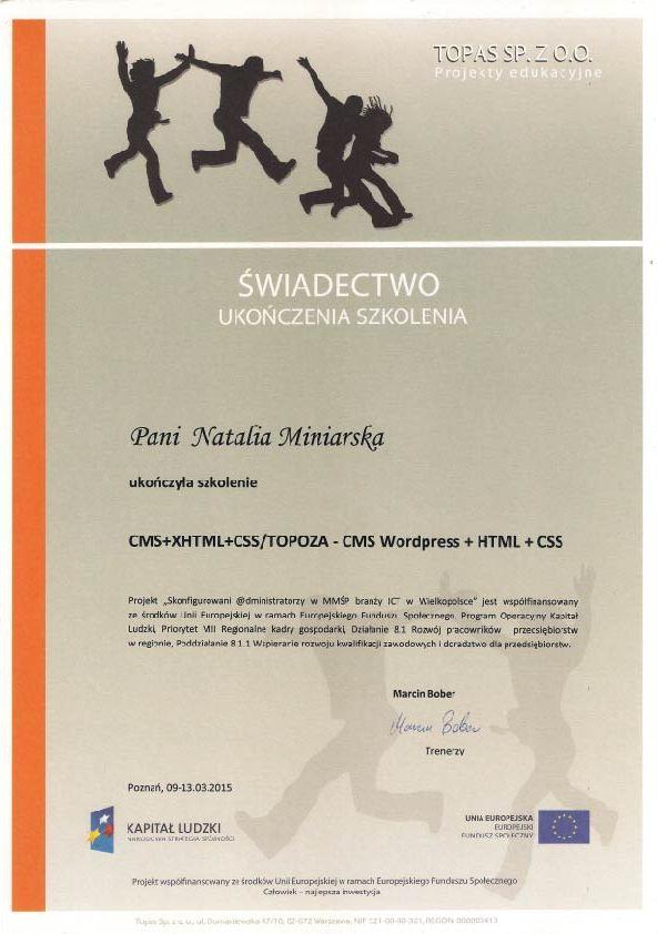 Świadectwo ukończenia szkolenia - WordPress, HTML, CSS - Natalia Miniarska